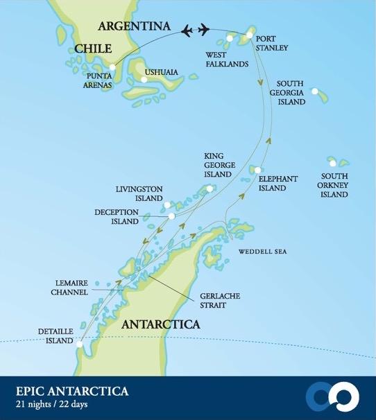 Map for Epic Antarctica (Akademik Ioffe)
