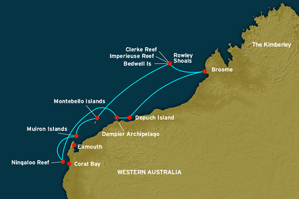 Map for Ningaloo & The Bluewater Wonders of Australia's West