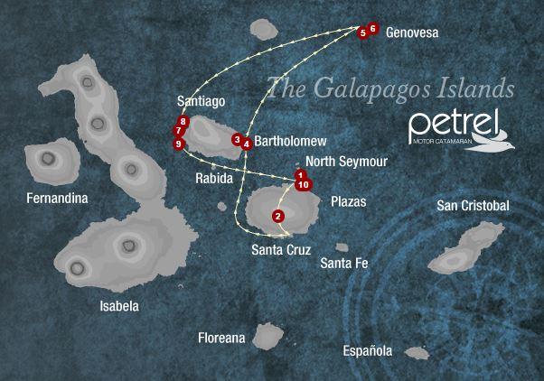 Map for Genovesa & Central Islands 5 days (Petrel)