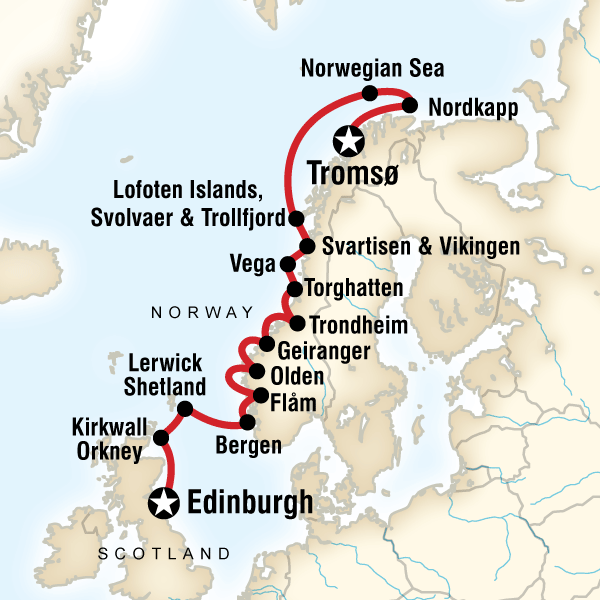 Map for Scottish Islands & Norwegian Fjords