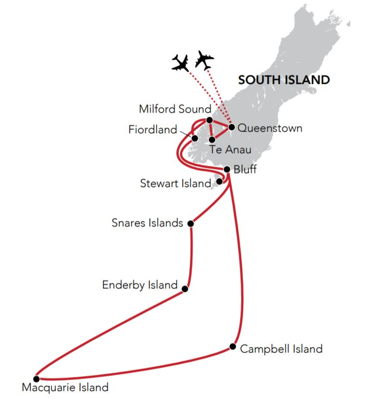 Map for Sub-Antarctic Island Odyssey
