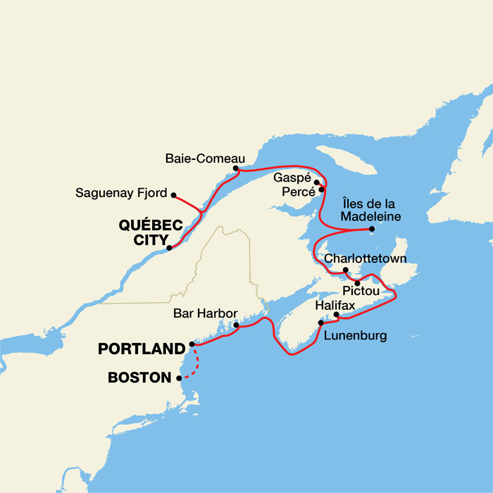 Map for Canada and New England Fall Foliage Cruise