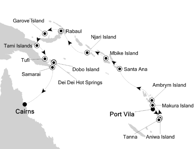 Map for Islands of the Coral Sea