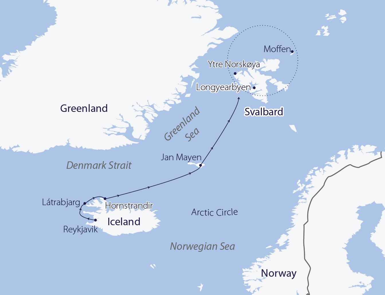 Map for Iceland, Jan Mayen and Svalbard (Greg Mortimer)