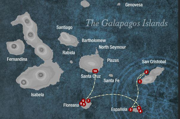 Map for Southern Galapagos 4 Days (Camila)