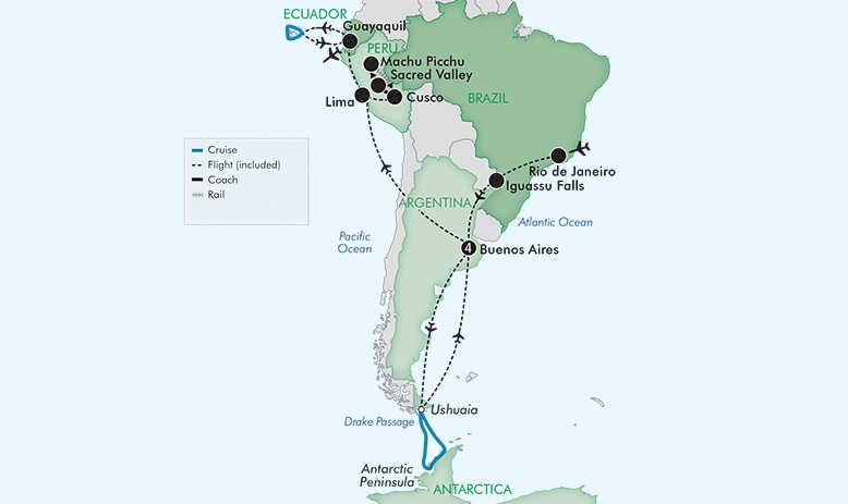 Map for Best Of South America With The Galapagos Islands