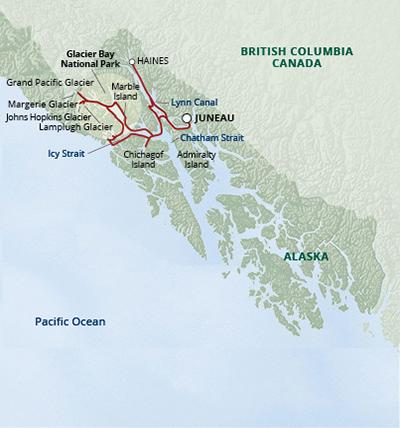 Map for Glacier Bay National Park Adventure Cruise (Wilderness Explorer)