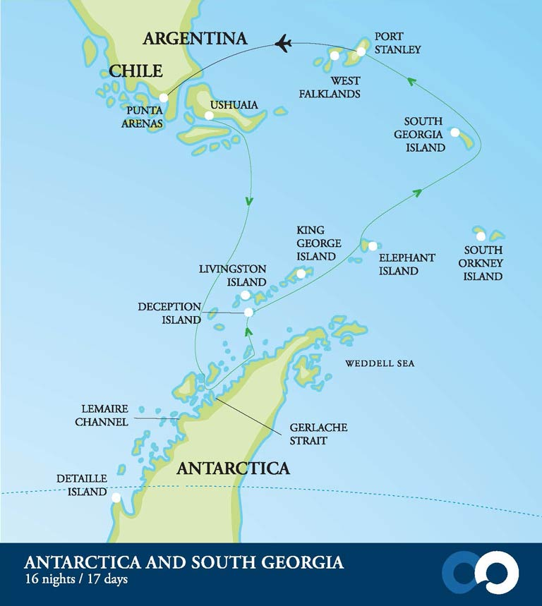 Map for New Year's Eve in Antarctica & South Georgia
