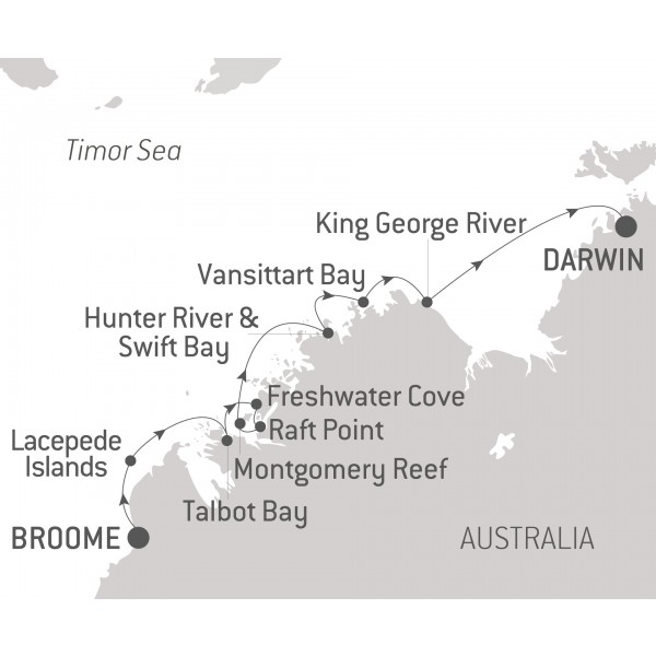 Map for Australia's Iconic Kimberley (Le Laperouse)