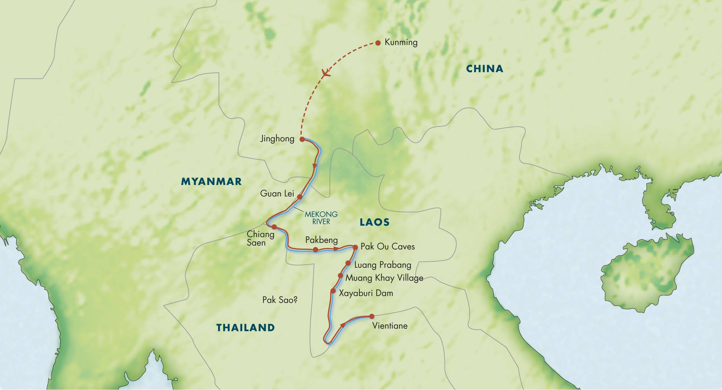 Map for Along the Mekong: China, Thailand & Laos