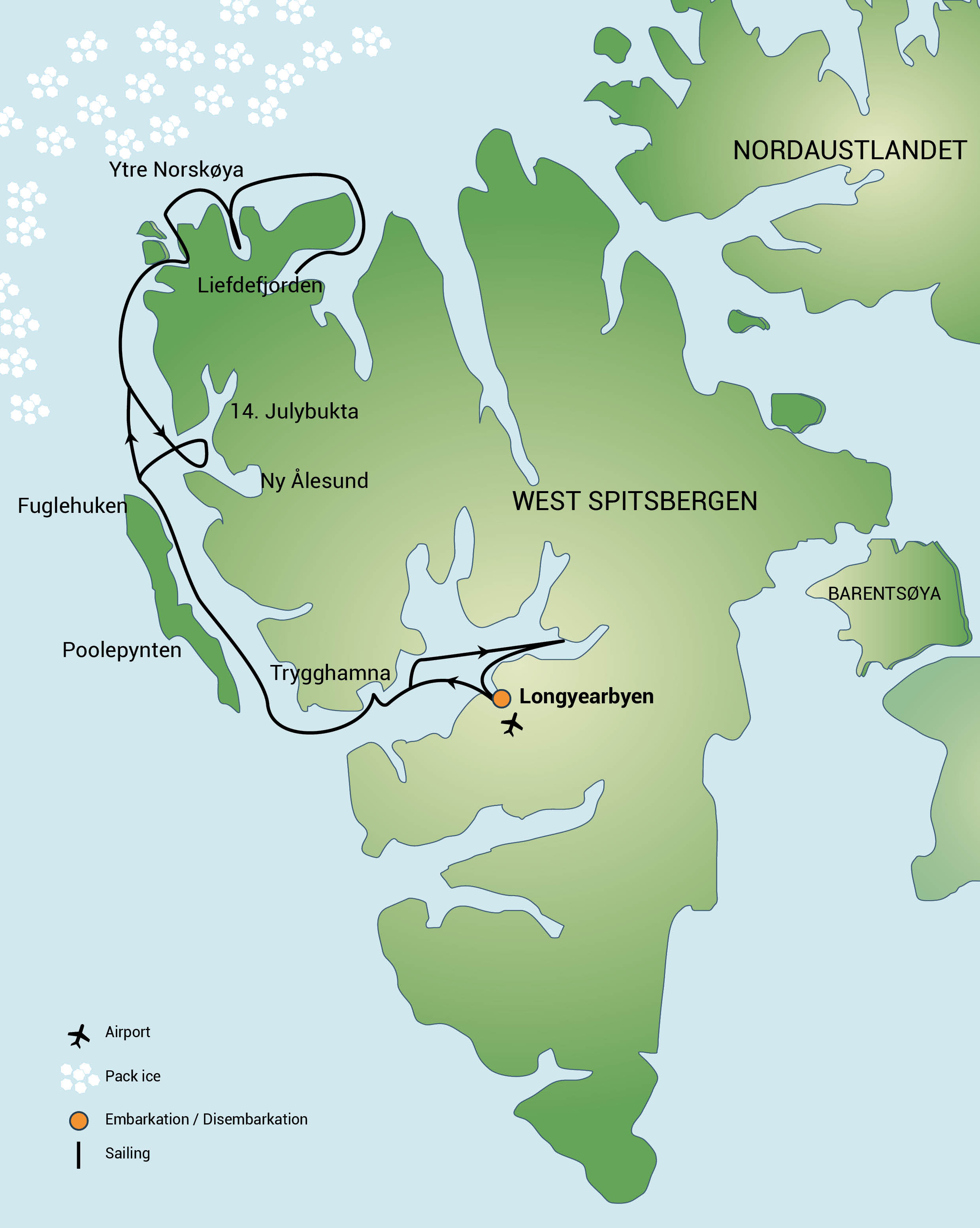 Map for North Spitsbergen, Arctic Summer (Noorderlicht)