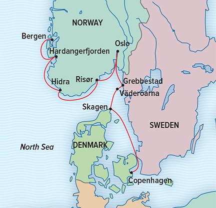Scandinavia By Sea Denmark Sweden And Norway - Norway denmark map