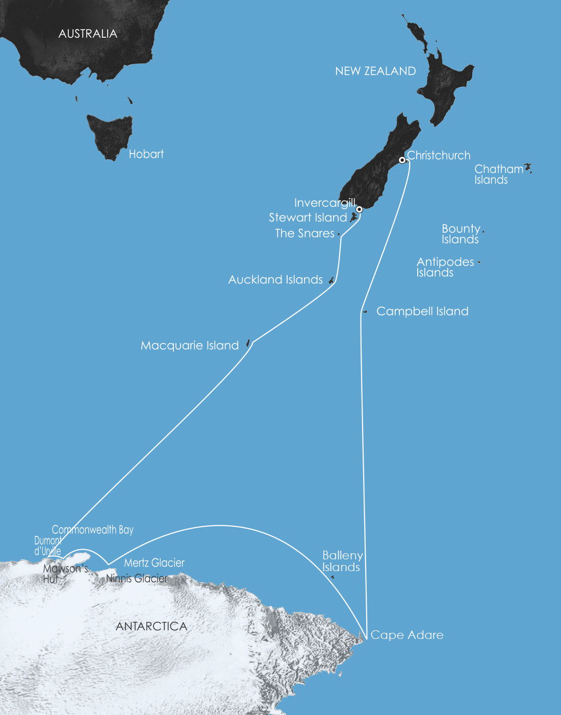 Map for East Antarctica: In the Wake of Mawson