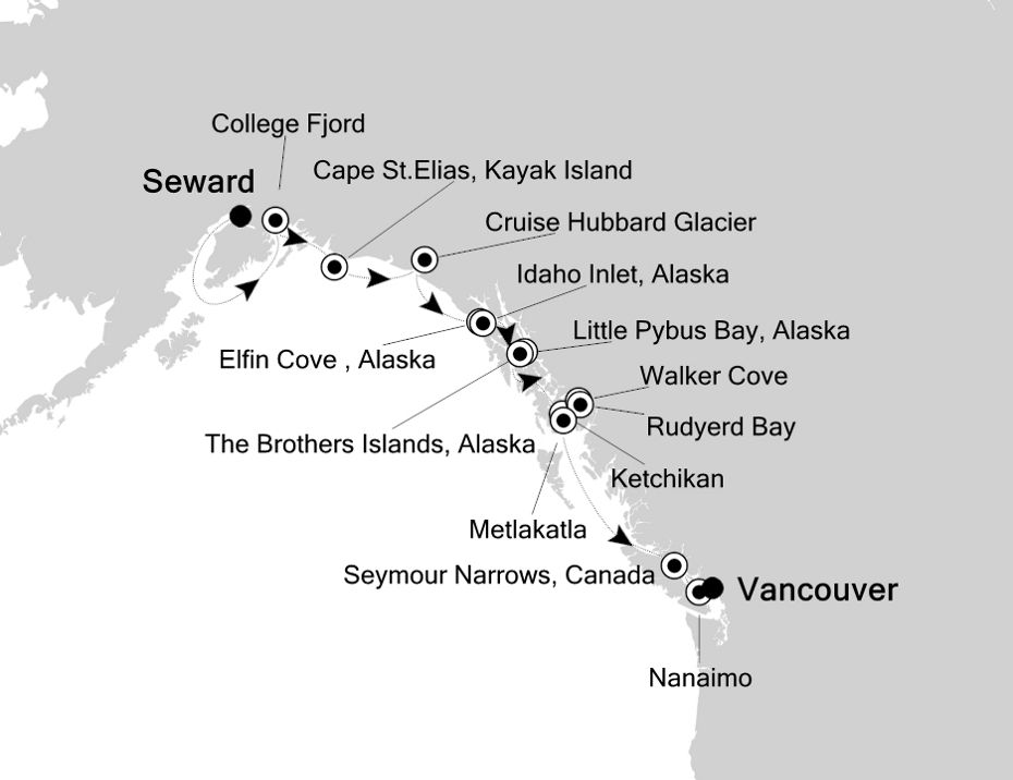 Map for From Seward to Vancouver: Hubbard Glacier, Misty Fjords and Elfin Cove