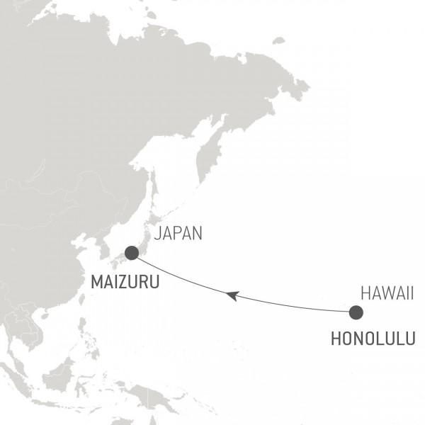 Map for Ocean Voyage: Honolulu - Maizuru