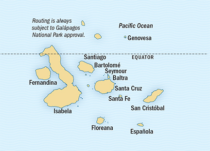 Map for 10 Day Galapagos Expedition