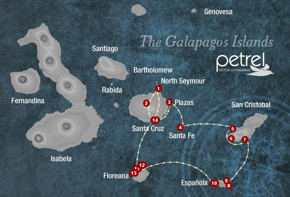 Map for Central & Southern Islands 6 days B (Petrel)
