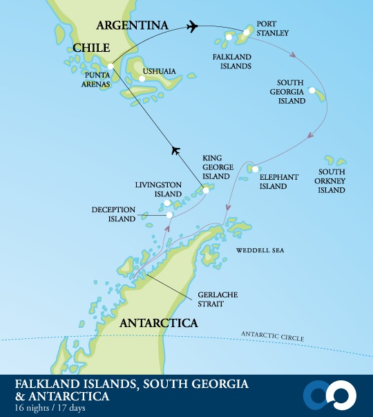 Map for Antarctica, South Georgia & The Falklands