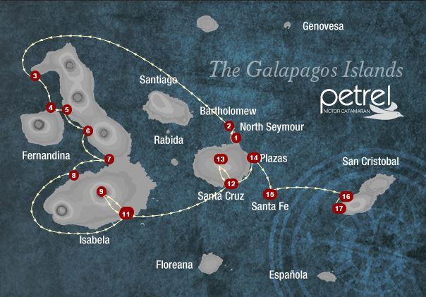 Map for Isabela, Fernandina & Central Islands 8 days A (Petrel)