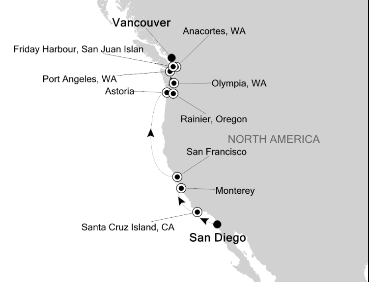 Map for Wild Coast of the Pacific USA