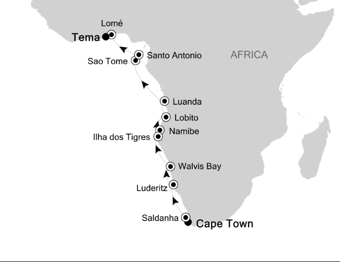 Map for Skeleton Coast to Gold Coast