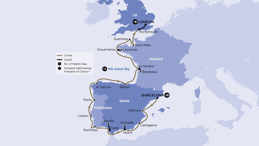 Map for Southern European Sojourn