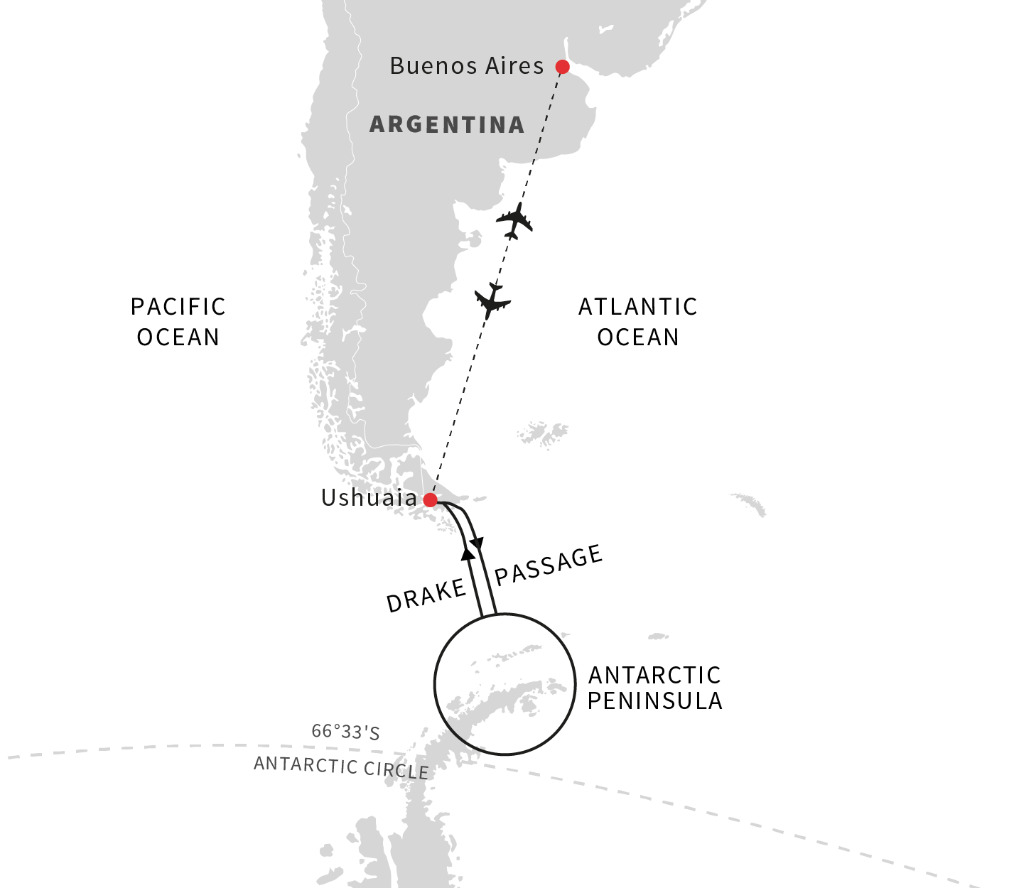 Map for Christmas Adventure in Antarctica