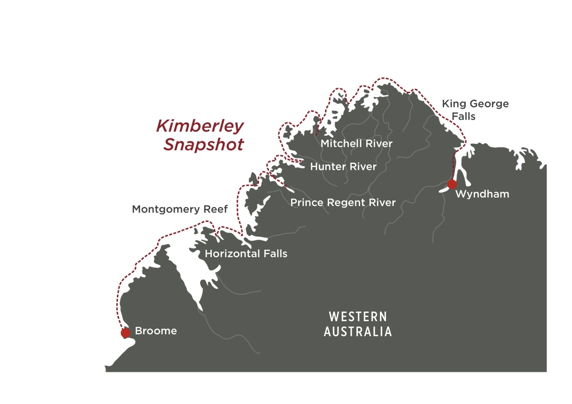Map for Kimberley Snapshot Cruise