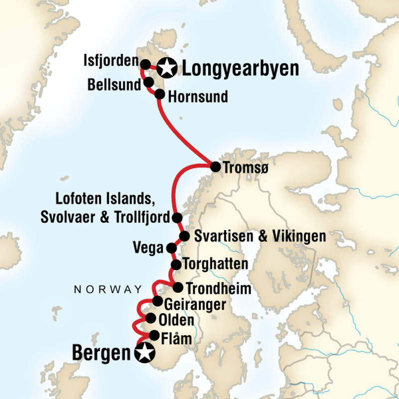 Map for Norwegian Fjords and Polar Bears of Spitsbergen