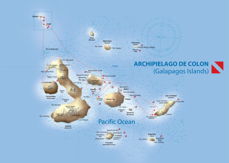 Map for Galapagos Dive Cruise