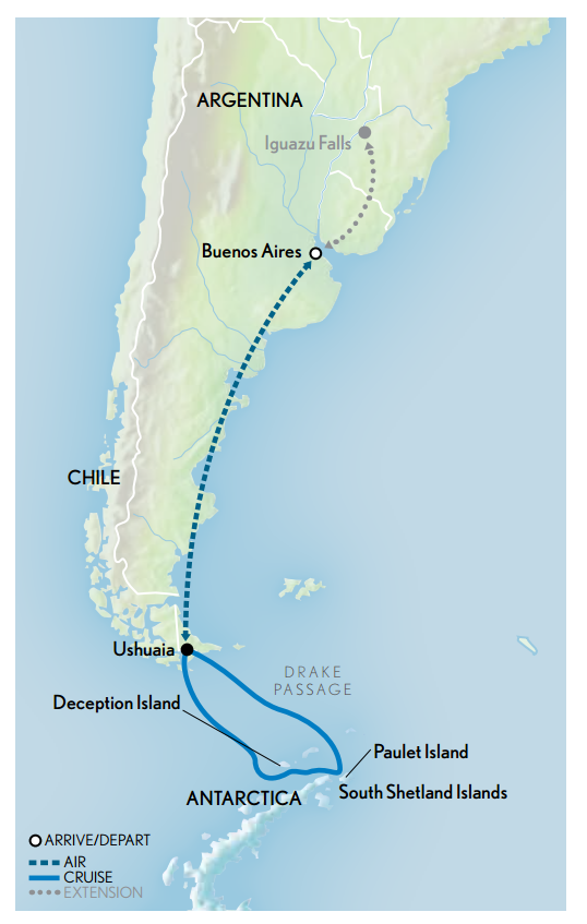 Map for Classic Antarctica 2018-2019
