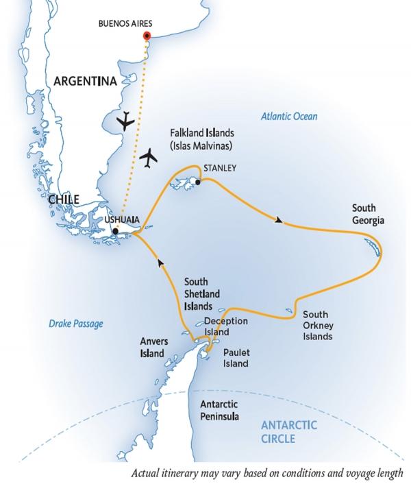 Map for Falklands, South Georgia and Antarctica
