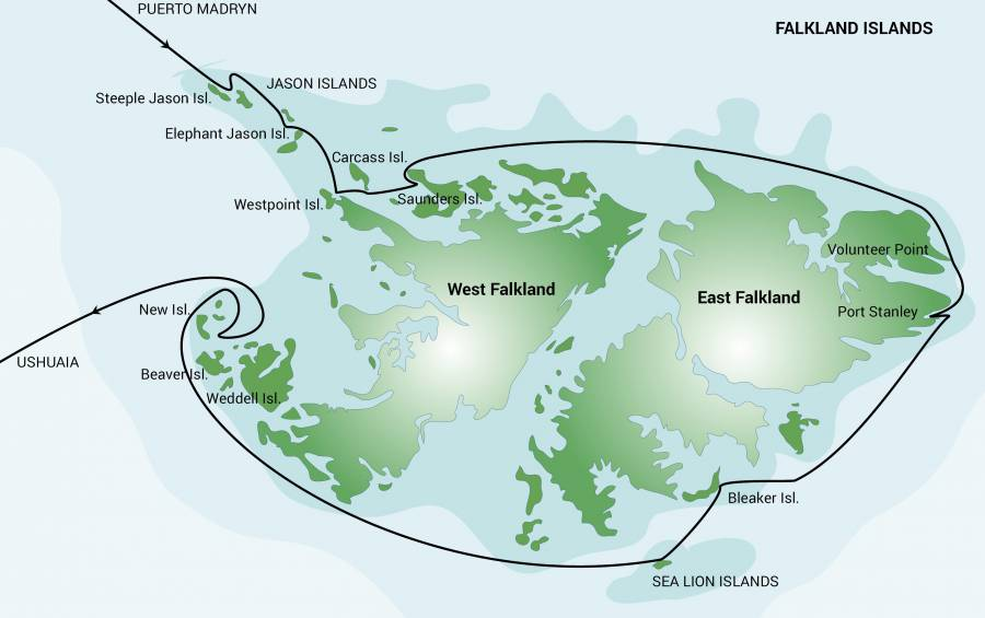 Map for Falkland Islands Exclusive