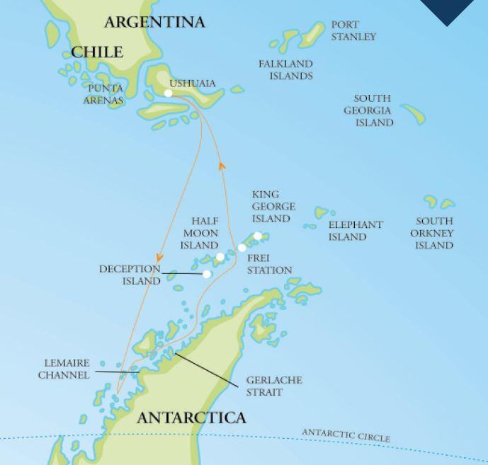 Map for Antarctic Peninsula Explorer (RCGS Resolute)