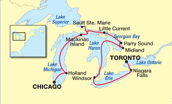 Map for Great Lakes & Georgian Bay Cruise