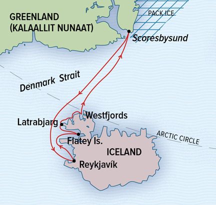 Map for Iceland's Wild West Coast to East Greenland