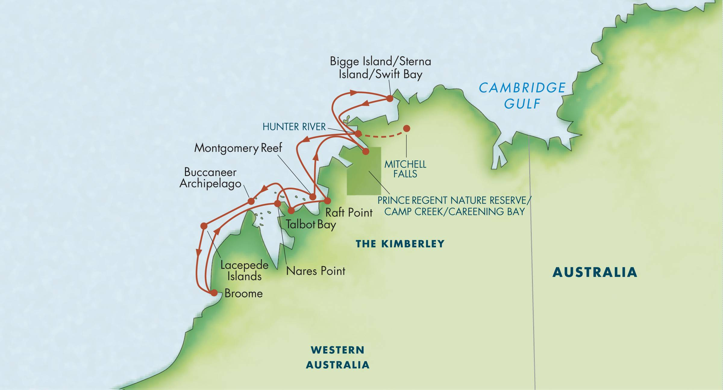 Map for Australia's Kimberley: A Voyage to the Outback 2019