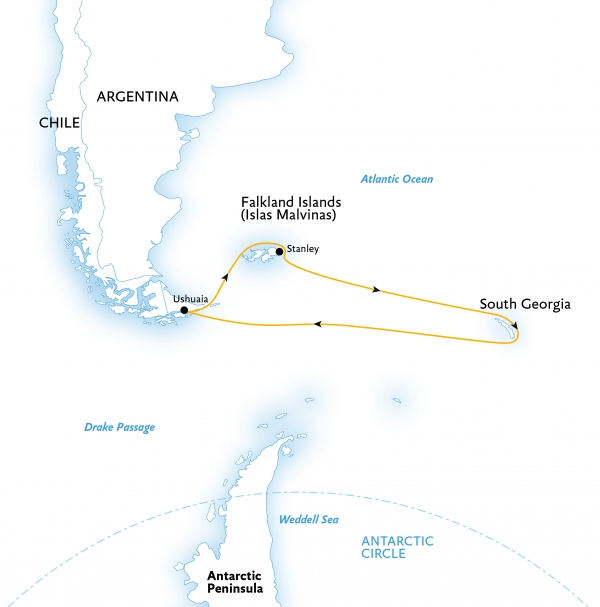 Map for Falklands & South Georgia: Islands of the Southern Ocean