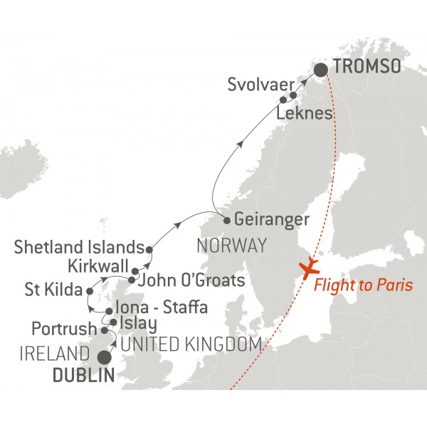 Map for From Dublin to Tromso: the Hebrides and Lofoten