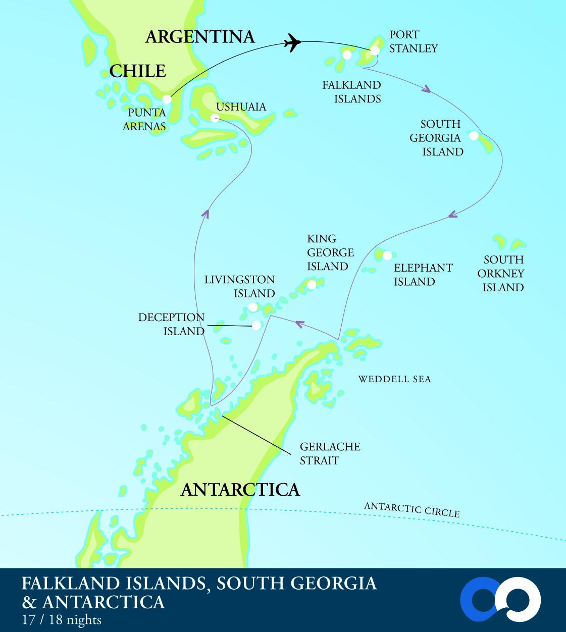 Map for Antarctica, South Georgia and the Falkland Islands