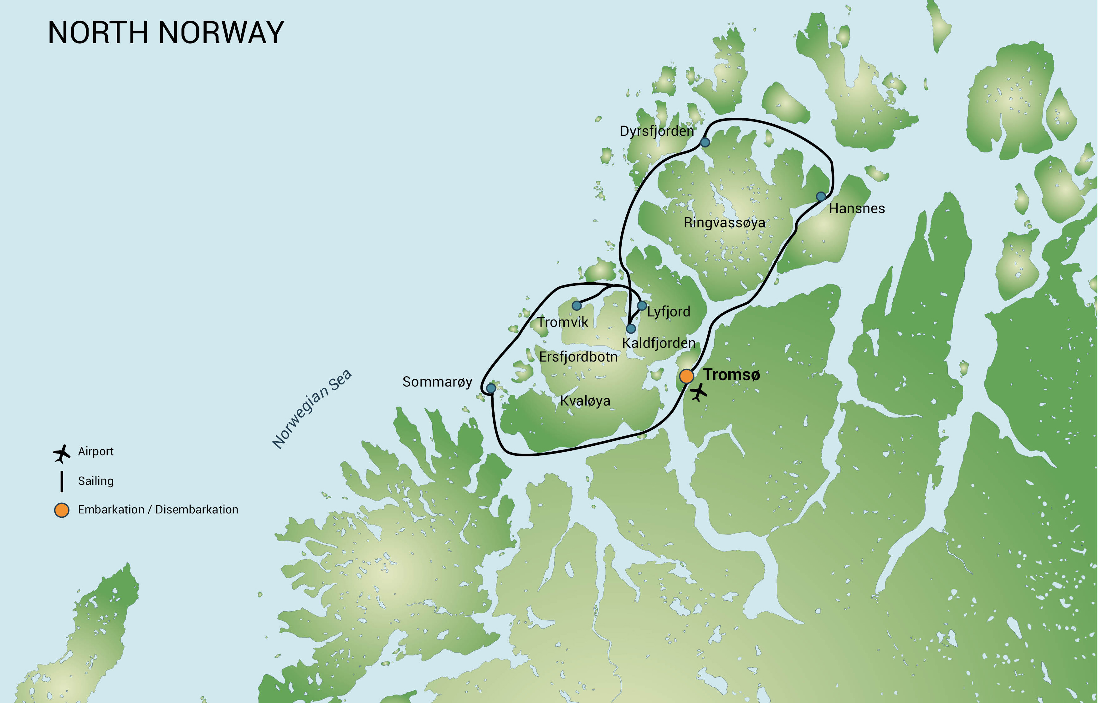 Map for North Norway - Whale Safari, Aurora Borealis 2018