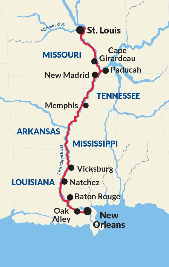 Map for Mississippi River Gateway Voyage