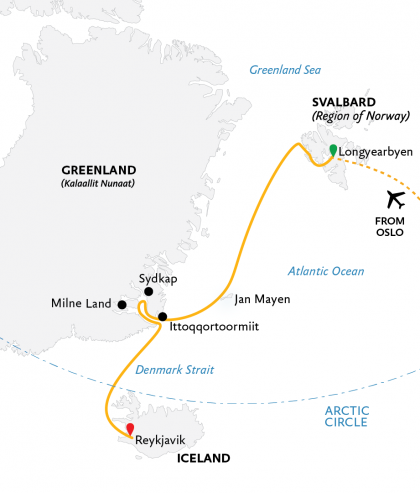 Map for Four Arctic Islands: Spitsbergen, Jan Mayen, Greenland & Iceland