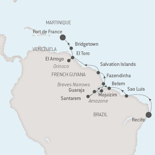 Map for Over the Amazon & Orinoco