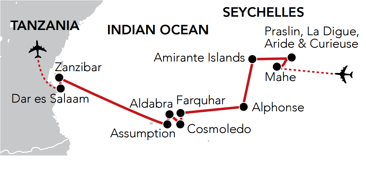 Map for Island Hopping through the Seychelles