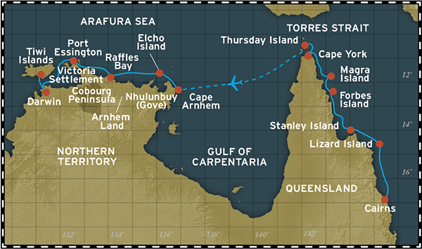 Map for Cape York and Arnhem Land (Cairns to Darwin)