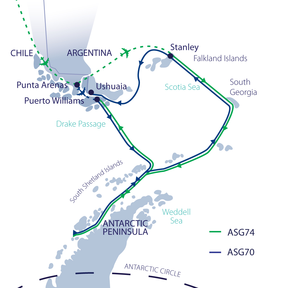 Map for Photographer's Antarctica & South Georgia