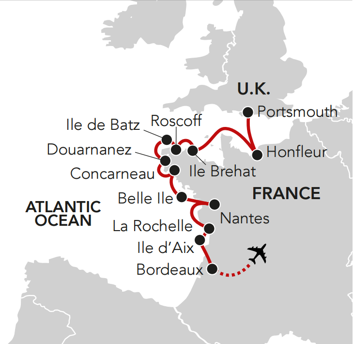 Map for Beauty of Normandy, Brittany & the Atlantic Edge