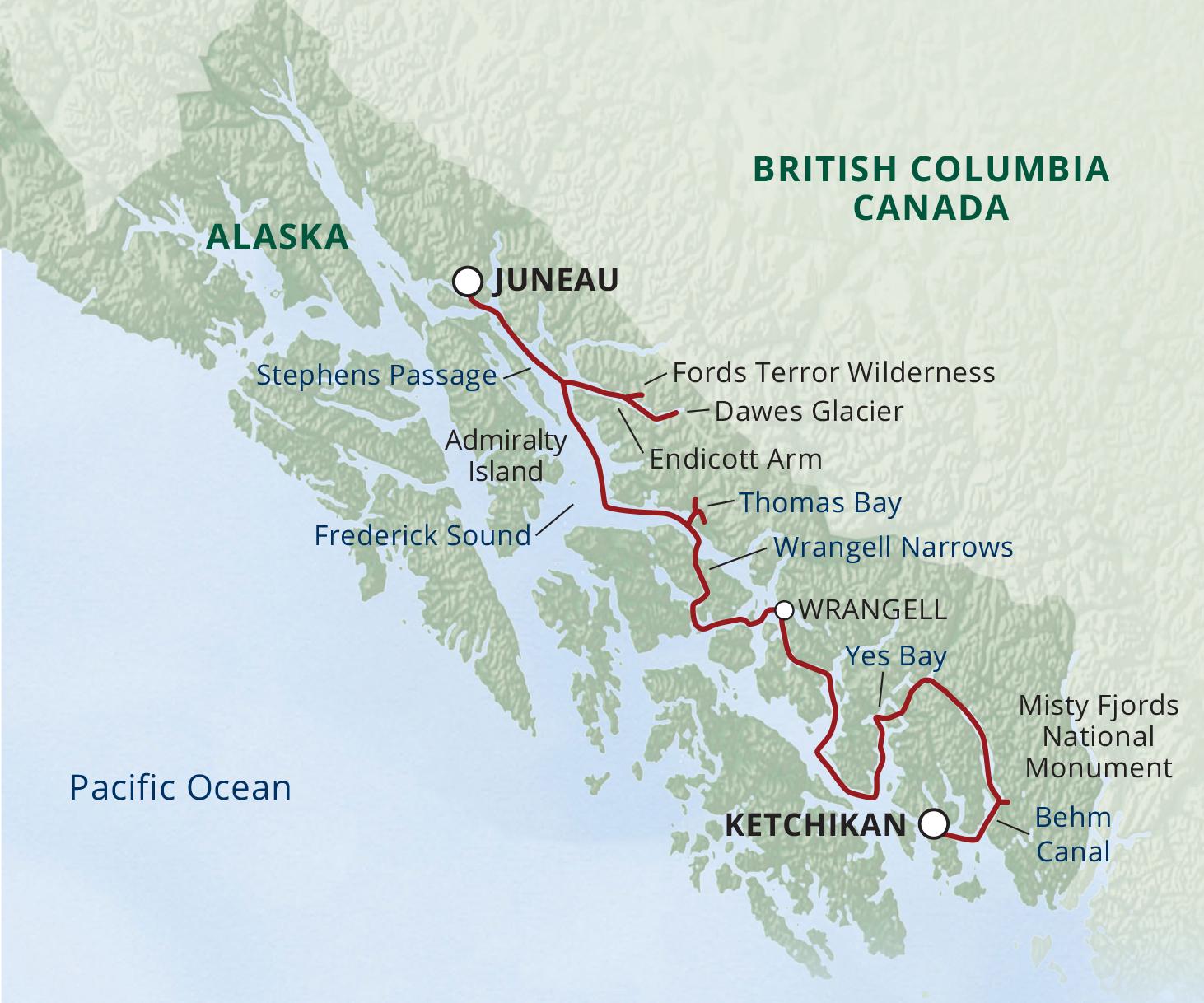 Map for Alaska Fjords & Glaciers (Wilderness Explorer)
