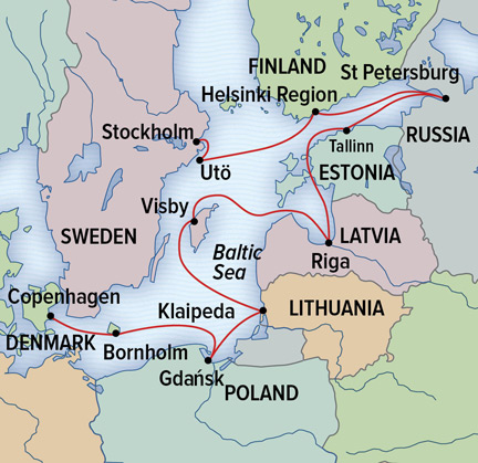 Map for Circumnavigating the Baltic Sea